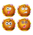 hamburgers with four different expressions vector image vector image