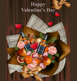 happy valentine day whiskey and decorations on vector image vector image