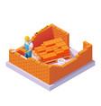 isometric bricklayer building brick wall vector image