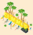 isometric girl in a bright swimsuit in beach sea vector image vector image