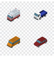 isometric transport set of lorry car autobus and vector image vector image
