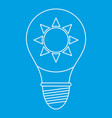 light bulb with sun inside icon outline vector image vector image