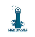 lighthouse logo palm and birds flat vector image