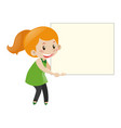 little girl with white board vector image