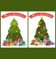merry christmas poster set decor tree and presents vector image