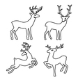 Outlined deer set silhouettes vector image