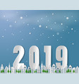 paper art of happy new year 2019 vector image