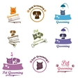 Pet grooming logo set vector image