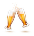realistic beer glasses toasting splashing vector image