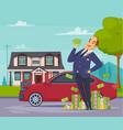 rich businessman cartoon composition vector image