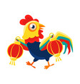 Rooster cartoon character carrying two red