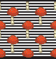 seamless pattern red amanita fly agaric mushroom vector image