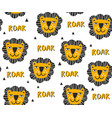 seamless pattern with heads lions art vector image vector image