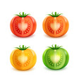 set of big red green orange yellow cut tomatoes vector image vector image