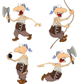 Set of cute pirates for you design Cartoon vector image