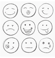 set of hand drawn faces vector image
