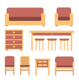 set of simple flat vintage furniture vector image vector image