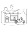 store with delivery motorcycle vector image vector image