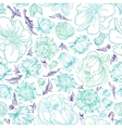 Turquoise Sketch Floral Pattern vector image vector image