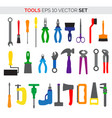 various colorful cartoon tools vector image vector image