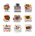 voodoo african and american magic logo set vector image vector image