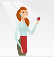 waitress holding a glass of wine in hand vector image vector image
