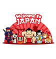 welcome to japan with cute characters vector image vector image