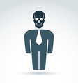 White collar office worker man icon with skull