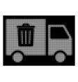 white halftone rubbish transport van icon vector image
