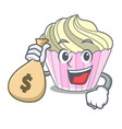 with money bag cake meringue with in character vector image vector image