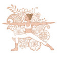 women silhouette warrior 2 yoga pose vector image vector image