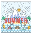 Line Style Flat Color Summer Card or vector image