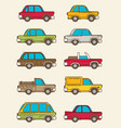 set of vintage cars flat style vector image