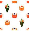 sushi types - rolls temaki seamless pattern vector image