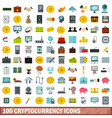 100 cryptocurrency icons set flat style vector image