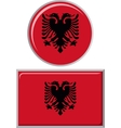 albanian round and square icon flag vector image