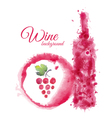 Artistic watercolor wine background vector image