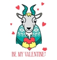 Be my Valentine card goat in a sweater vector image vector image