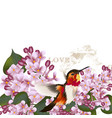 beautiful pattern with lilac flowers and bird vector image