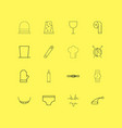 beauty dress and clothes linear icon set simple vector image