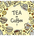 Card with doodle tea accessories and text vector image vector image