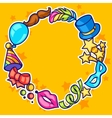 Celebration festive frame with carnival icons and vector image vector image
