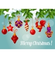 Christmas ball on pine branch greeting card vector image