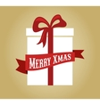 Christmas gift box with ribbon and bow vector image vector image