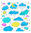 cloud hand drawn clouds icons set children sky vector image