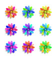 colored paper flowers set spring design vector image