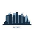 detroit skyline monochrome silhouette vector image vector image