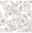elegant seamless pattern with hand drawn line rose vector image
