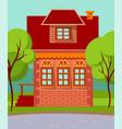 facade exterior living building in village vector image