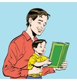 father and son reading a book vector image vector image